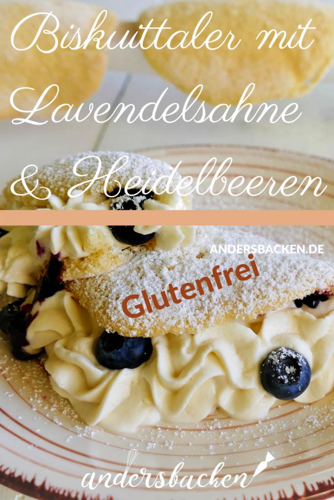 Biskuittaler mit Lavendelsahne und Heidelbeeren