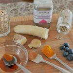 Zutaten für das Porridge mit goldenen Milch