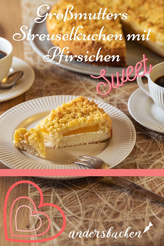 Dinkel Streuselkuchen mit Pfirsichen